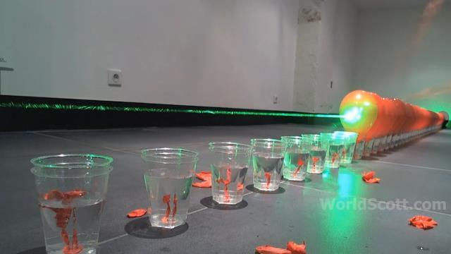 Home Made Heroes - World Record Submission - 100 Laser Balloon Popping Dominoes - Wicked Lasers S3 Krypton 750mW+ IMG