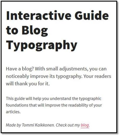 Interactive Guide to Blog Typography Screenshot