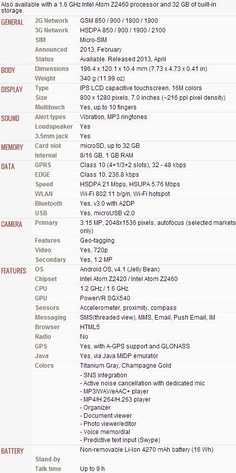 ASUS FonePad Specs List