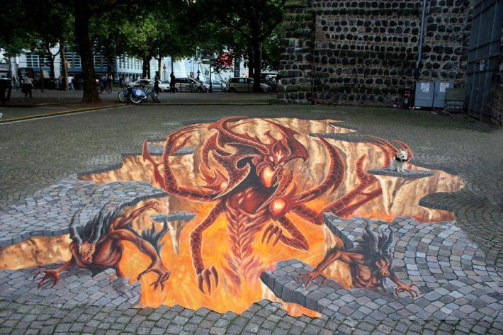 3D Street Painting DIABLO 3 Gamescom Cologne 2011 Credit: Manfred Stader