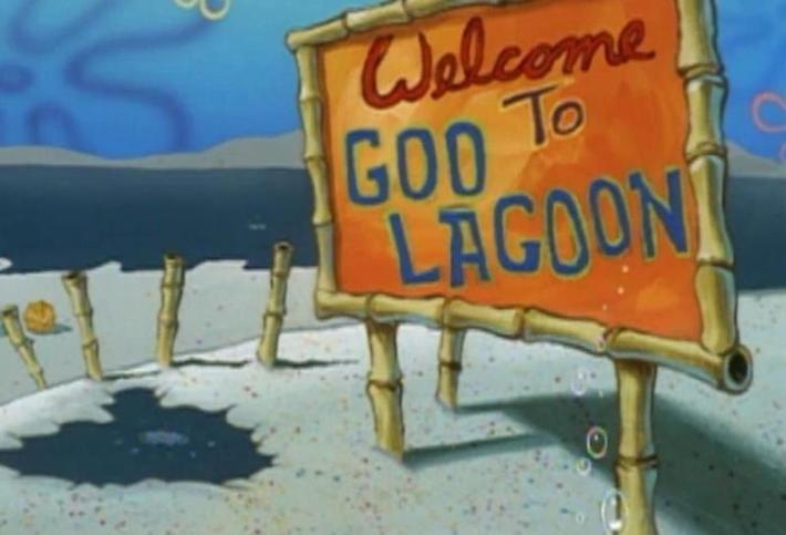 Goo Lagoon is an underwater beach - one of the many physically impossible features of the shows, next to underwater campfires and a squirrel that lives inside an underwater dome.